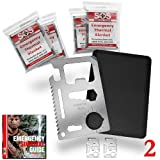 Credit Card Survival Tool - 11 In 1 Credit Card Tool (2 PACK) - The Ultimate Survival Tool Making It An Integral Part Of Your Survival Gear. This SOS Rescue Tools Multi Tool Product Comes With 4 Emergency Blankets (Mylar) and A 100% Money Back Guarantee