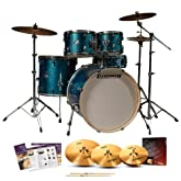 Ludwig LCF52G-023 Element Drive 5-Pc Drum Set - Blue Sparkle with Hardware, Pedal, Zildjian ZBTX390 Cymbals & Drumsticks