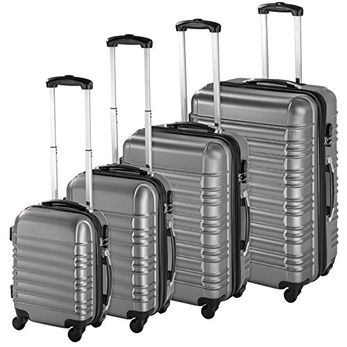 TecTake Set di 4 valigie ABS rigido trolley valigia bagaglio a mano borsa elegante Argento