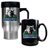 Minnesota Timberwolves NBA Stainless Steel Travel Mug &amp; Black Ceramic Mug Set - Primary Logo