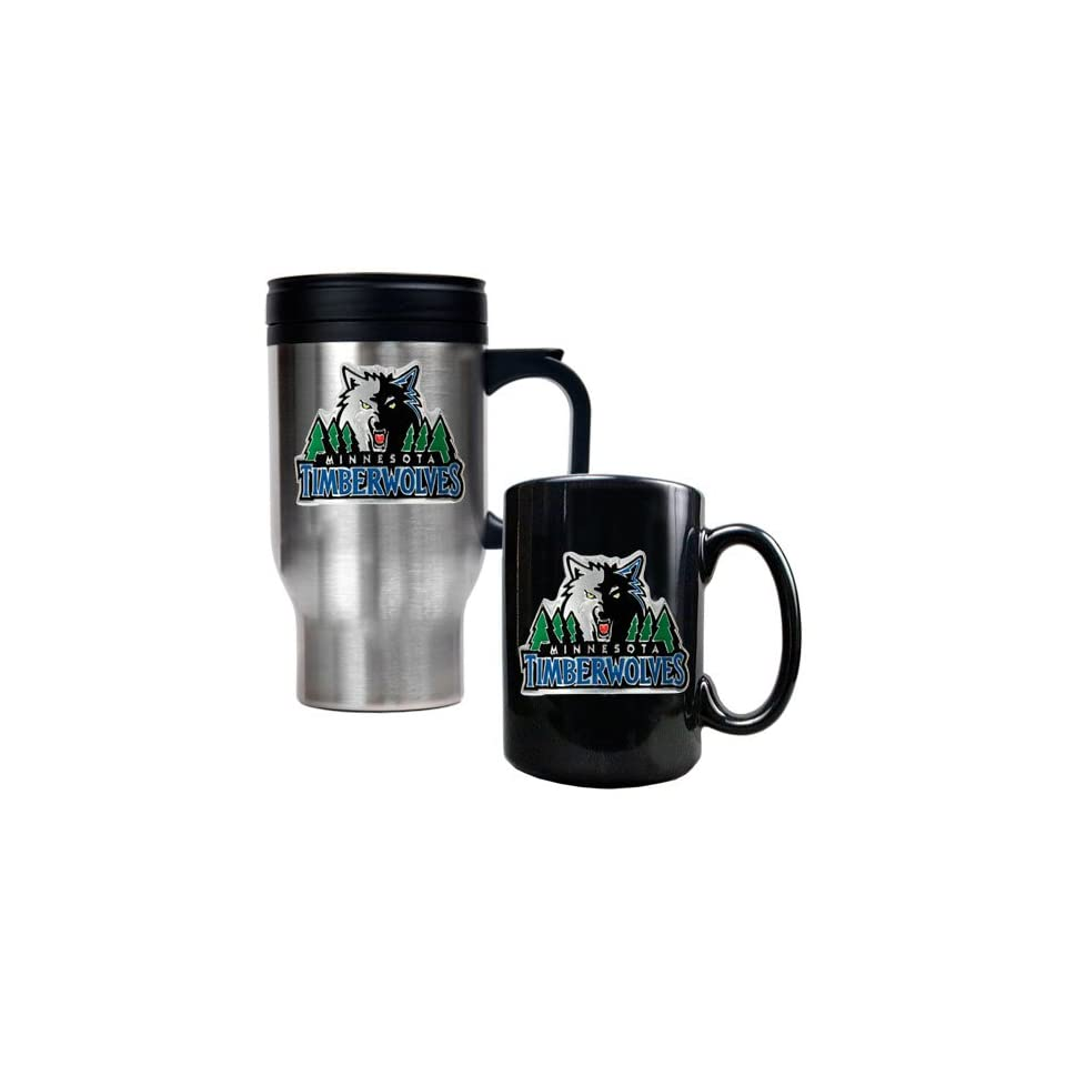 Minnesota Timberwolves NBA Stainless Steel Travel Mug & Black Ceramic