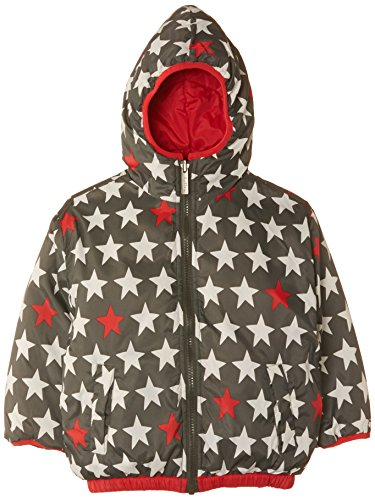 Hatley Little Boys' Little Boys' Reversible Winter Puffer Bright Stars, Red, 4 front-941837