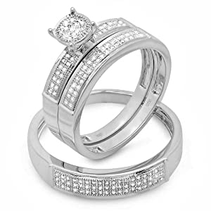 0.33 Carat (ctw) Sterling Silver Round White Diamond Men & Women's Micro Pave Engagement Ring Trio Bridal Set 1/3 CT by DazzlingRock