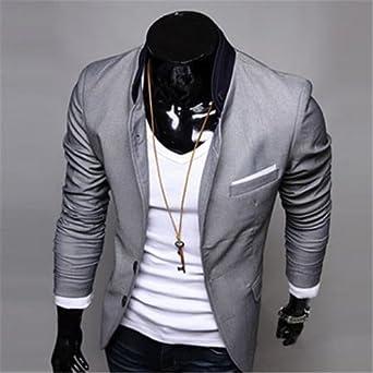 Mens Casual Stylish Suit Blazer Jackets M Gray at Amazon