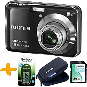 Bundle: Fuji AX650 Digital Camera in Black + 4GB + Fuji Tough Case + Uniross NiMh Rechargeable Batteries & Charger (Fujifilm Finepix AX650 Black, 16MP, 5xOptical Zoom, 2.7