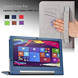 For Lenovo Yoga Tablet 2 PRO 13.3-inch Android Premium QUALITY PU LEATHER FOLIO PROTECTIVE SMART CASE, COVER, STAND with MICROFIBER INNER, STYLUS SLOT, Hand Strap and Credit Cards / ID Holders, Elastic Strap for secure closure! Dark BLUE.