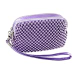 Allegra K Faux Leather Strap Light Purple Beaded Purse Bag for Lady