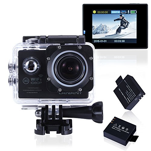 Canany CY6000 Wifi Action Camera 12MP 2.0Inch 1080P FHD Underwater Camera Bundle With 2 Batteries and FREE Accessories Kits(Black)