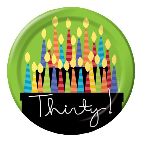 Creative Converting 8 Count Paper Dinner Plates, Great Birthday 30th