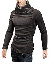 DJT Herren Pullover Schalkragen Stehkragen Knopfleiste Sweatshirt Sweater