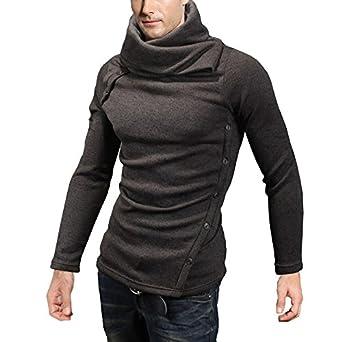 DJT Pull-over Homme Manche longue Veste Sweat-shirt Blouse Haut-Col CafšŠ S