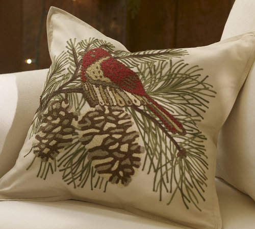Pinecone Bird Embroidered Pillow Cover (18X18)