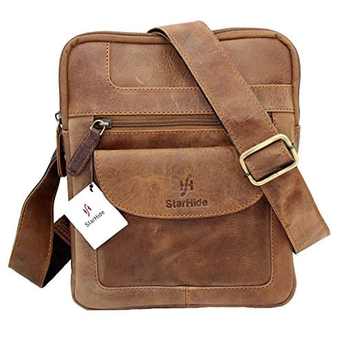 Starhide Distressed Hunter Brown Leather Cross Body   Shoulder   Travel Messenger bag for Kindle Ipad Tablet #505