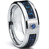 8MM Tungsten Carbide Ring BLUE SAPPHIRE .050 Carat & BLACK/ BLUE Carbon Fiber Inlay Wedding Band Size 8
