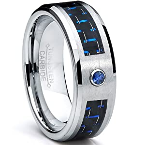 8MM Blue-Black Carbon Fiber with Diamond Tungsten Rings