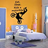 EAT, SLEEP, RIDE A MOTORBIKE, Sticker, Wall Art, Mural, Giant, Large, Decal, Vinyl (88cm (W) X 120cm (H) - Ex Large)