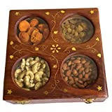 Onlineshoppee Wooden Dry Fruit Box With 4 Steel Bowls