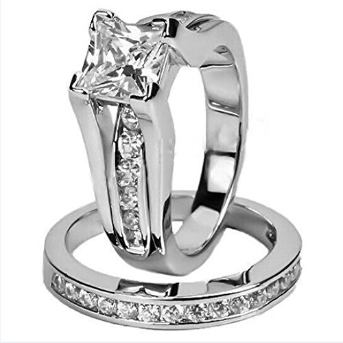 AYT Size 6/7/8/9/10 Women's 14KT White Gold Filled CZ Princess Cut Engagement Wedding Ring Set White Zircon New RW0231-6/7/8/9/10 6.0