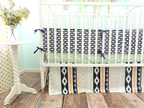 Tushies and Tantrums Aztec Themed Crib Bedding, Mint/Peach/Gold/Navy Blue