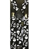 Outer Rebel Black and White Skull Head Suspenders