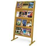 Wooden Mallet 24-Pocket Slope Literature Display, Mahogany