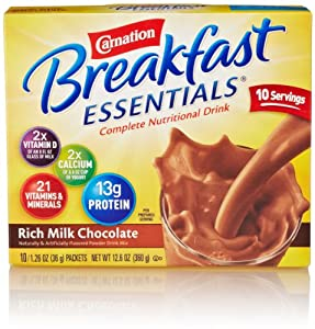 Carnation Breakfast Essentials, Rich Milk Chocolate Powder, 10 Count