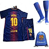 FC Barcelona 2017/18 Kid, Youth for Lionel Messi, Luis Suarez, Neymar Jr, Iniesta & the rest of club Barcelona Jersey with short + Matching socks and Soccer Bag