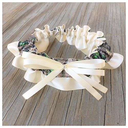 SEXY Realtree Camouflage & Ivory Satin Bling Bridal Wedding Garter Rhinestone Real Tree Camo Keepsake Or Garter Set