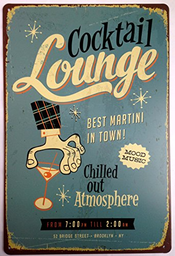 "Cocktail Louhge Best Martini in Town Retro Vintage Tin Sign 12"" X 8"""