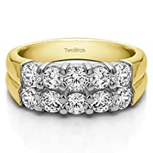 buy 10K Two Tone Gold Double Row Shared Prong Classic Anniversary Ring With Diamonds (1.48 Ct. Twt.)