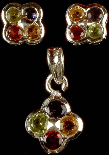 Faceted Gemstone Pendant with Matching Earrings - Sterling Silver