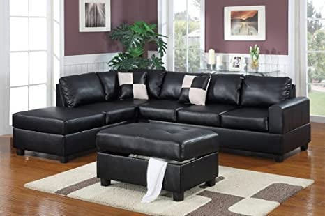 Bobkona 3pcs. Bonded Leather Match Sectional Black Color