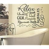 RELAX SOAK BUBBLES BATH AR QUOTE WALL ART STICKER DECAL VINYL DIY HOME BATHROOM (BLACK, 76x65cm)