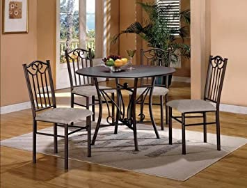 "5PC 42"" Round Dining Table and Chairs Set"