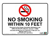 ComplianceSigns Vinyl Oregon No Smoking X Feet Label, 5 x 3.5 with English, 4-Pack White