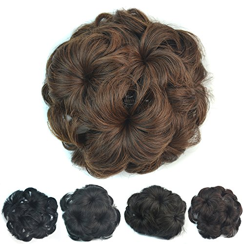 Flowers the employer's wig with bun bun mechanism for Europe and letting domestic plug comb chignon , brown (Hair Lifter Accessories compare prices)