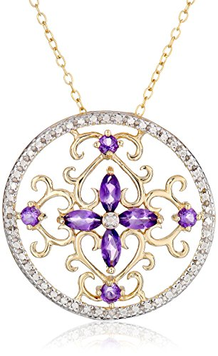 18K Yellow Gold-Plated Sterling Silver Two-Tone African Amethyst Flower Pendant Necklace (0.01 Cttw, I-J Color, I2-I3 Clarity), 18""