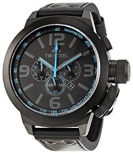TW Steel TW905 - Reloj cronógrafo de cuarzo unisex con correa de piel, color negro