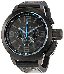 TW Steel Men's TW905 Cool Black Black Leather Strap Watch