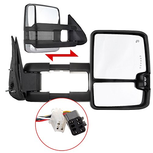Scitoo Power Heated Chrome Towing Mirrors LED Clearance Signal Light for 99-02 Silverado/Sierra Side Mirror Pair Set (1999 Silverado Tow Mirrors compare prices)