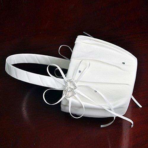 [해외]eckMineOut의 5''x9 ''화이트 Dimante Cystal 모조 다이아몬드를 두 번 사랑의 하트 새틴 꽃 소녀 바구니 웨딩 약혼 파티 호의에 대한/CheckMineOut 5``x