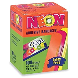 Neon Adhesive Bandages Assorted Colors 3 4 x 3 100 BX 1 Box