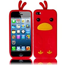buy Vmg +Eb For Apple Iphone 5 / Iphone 5S Cell Phone Funny Duck Design Soft Rubber Silicone Skin Case Cover - Red + Free Black Earbud Ear Bud Gift