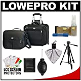 Lowepro Pro Roller Attache x50 Digital SLR Camera Bag/Case with Wheels (Black) with Deluxe Photo/Video Tripod + Nikon Cleaning Kit for Nikon D3100, D3200, D5000, D5100, D7000, D700, D800, D4 Digital SLR Cameras