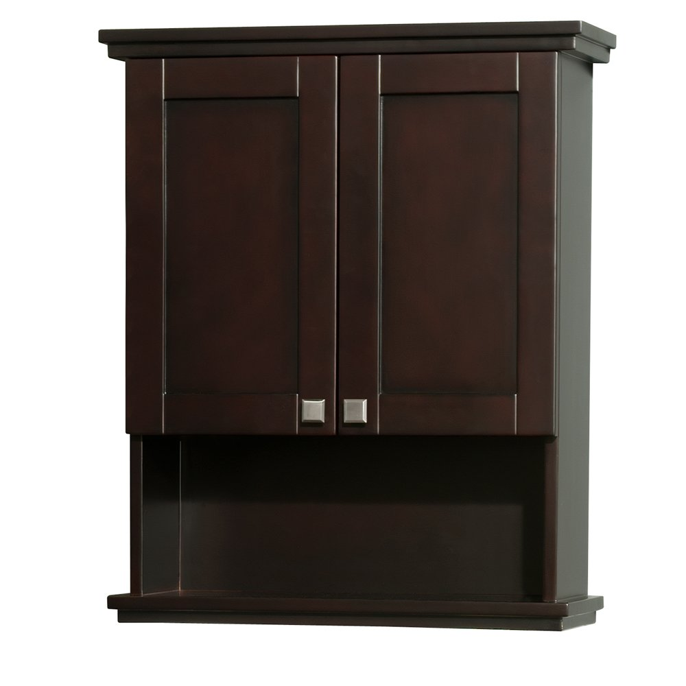 Wyndham Collection Acclaim Solid Oak Bathroom Wall-Mounted Storage Cabinet in Espresso