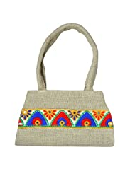 Angelfish Designer Women Jute Handbag With Lace
