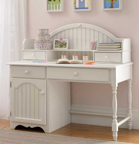Desk and Hutch Cottage Style in Off White Finish