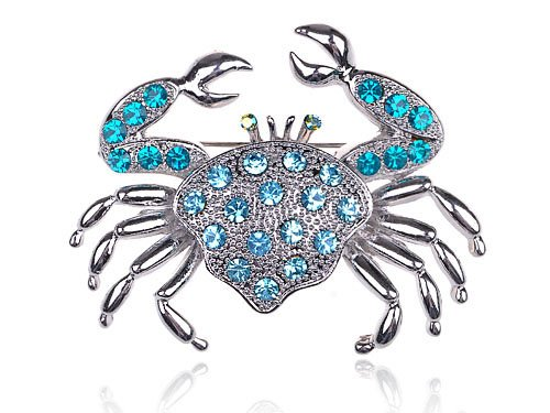 Aqua Light Blue Crystal Rhinestone Crab Critter Collection Fashion Brooch Pin