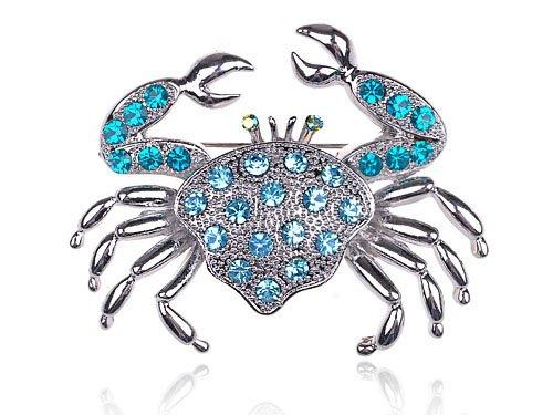Aqua Light Blue Crystal Rhinestone Crab Critter Collection Fashion Brooch Pin