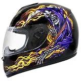 51fRlne4cTL. SL160  Advanced Hawk Grim Reaper Black Full Face Motorcycle Helmet   Size : Large
